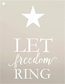 Let Freedom Ring with Star Stencil by StudioR12   Reusable Mylar Template   Use to Paint Wood Signs - Pallets - Pillows - DIY Patriotic Decor - Select Size (9