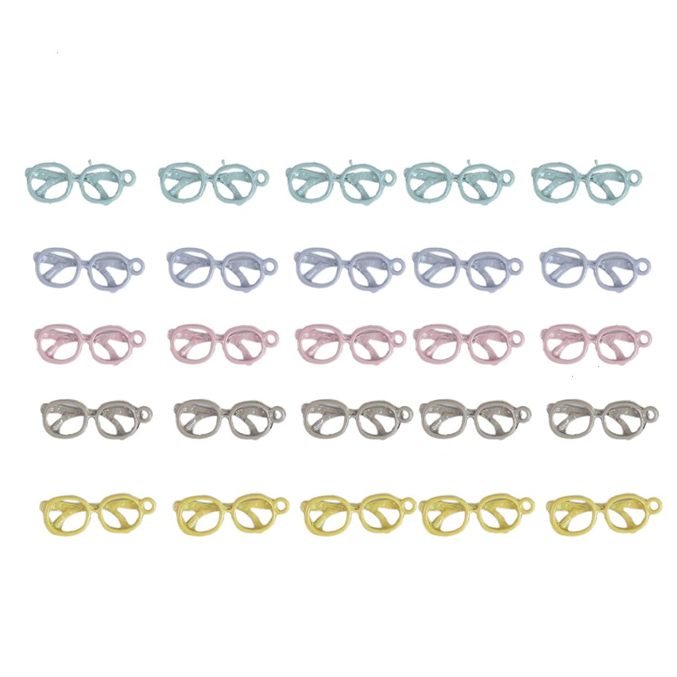 Monrocco 25pcs Cute Alloy Eyeglasses Charms Glasses Charms Pendants for DIY Necklace Bracelet Jewelry Making