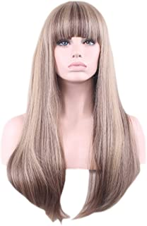 Women Blonde Flaxen Ombre Cosplay Wigs Synthetic Wig Harajuku Anime Wig Long Straight with Bangs 70cm 28