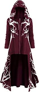 Pullover Women Long-Sleeve Sweatshirt Hoodie Print Zip Jacket Made Cotton Blend Fabric , Asymmetrical High Hem Fashion Ret...