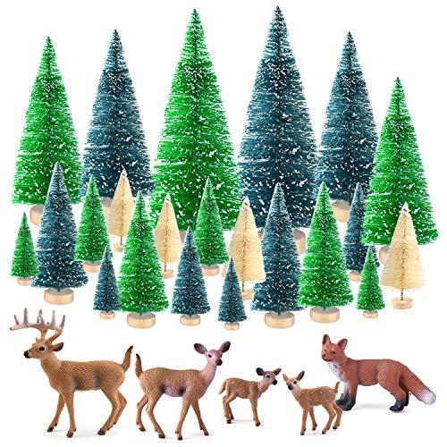KUUQA 25 Piezas Mini árboles de sisal Cepillo de Botella Árboles Árboles de Escarcha de Nieve con Figuras en Miniatura Animales del Bosque Ciervos Zorro Mesa Artesanía Decoración