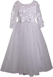 Bonnie Jean Girl's First Communion Dress with Bow and Daisies, Long Sleeve