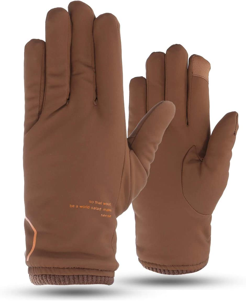 Lupovin-Keep Warm Mens Windproof Winter Driving Gloves Touch Screen Outside Skiing Ardent Thermal Non-Slip (Color : Khaki)