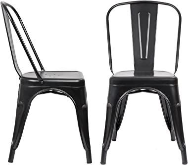 JUMMICO Metal Dining Chair Stackable Indoor-Outdoor Industrial Vintage Chairs Bistro Kitchen Cafe Side Chairs with Back Set o