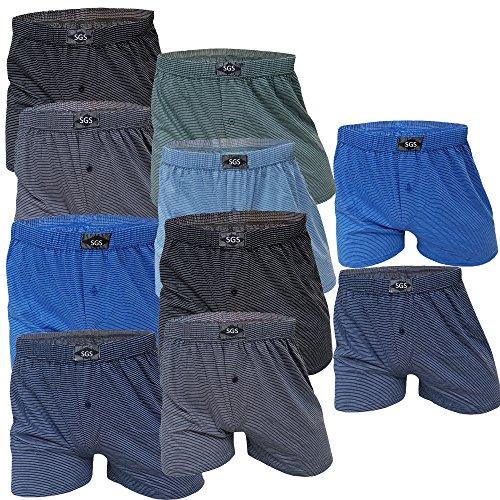 SGS 10 Boxershort Herren Unterhosen Boxershorts Men Baumwolle (11/4XL, 10.Stück mit Eingriff)