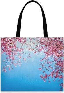 LUPINZ Damen Handtasche aus Segeltuch mit rosa Blumen