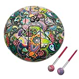 India Meets India 10 Inch OM Tongue Drum Tank Drum Steel Percussion Hangpan Drum Hand drum Musical Instrument with Bag and Mallets Stick (Multicolor)