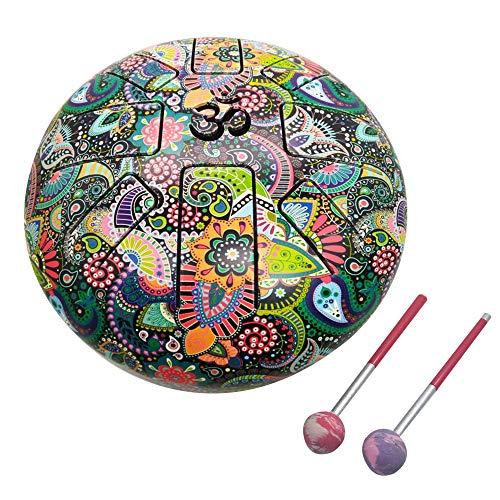 India Meets India 10 Zoll OM Tongue Drum Tank Drum Stahl Percussion Hangpan Drum Hand Drum Musikinstrument mit Tasche und Schlägel Stick L mehrfarbig