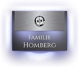 Designer deurbel met gravure verlicht naamplaatje LED-belknop en meer dan 100 motieven | Model: Homberg-L | 11x8 cm belkno...