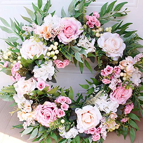 PinnacleT1 Artificial Peony Flower Rose Wreath for The Front Door -22