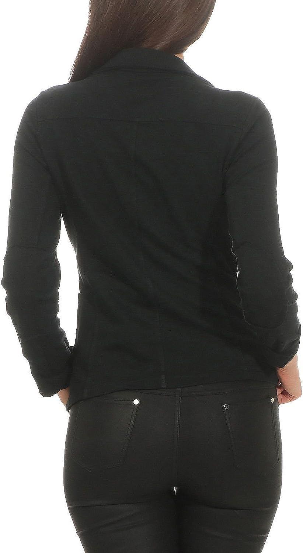 S-XL ZARMEXX Damen Blazer Kurzjacke mit Kn/öpfen Jacket Sakko Basic Coat Vintage Sweatjacke