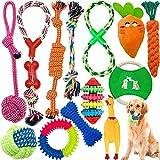 Tonsooze Juego de Juguetes para Perros, 13 Piezas de Juguetes Interactivos para Perros Juego de Juguetes de Cuerda para Masticar Juguetes de Cuerda de Algodón Trenzado Natural para Perros