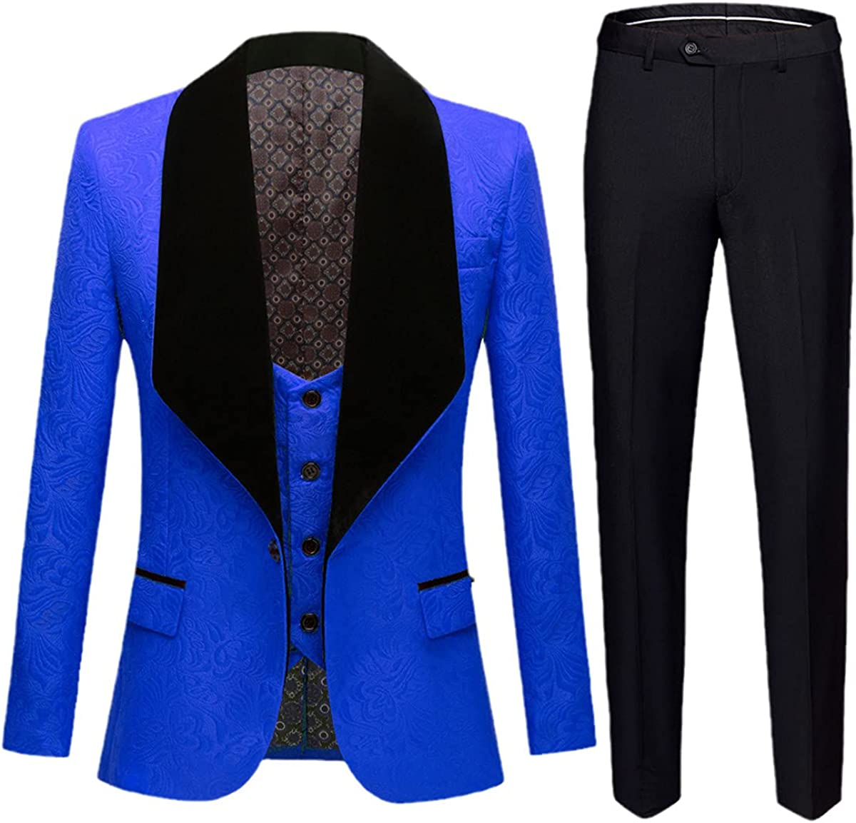 Men's Fashion Big Shawl Lapel 3 Piece Set Pink red Blue White Black Wedding Groom Suit Banquet Tuxedo