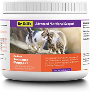 Dr. Bill's Feline Immune Support | Pet Supplement | Supports the Innate Immune System | Includes Colostrum, Lactoferrin, Beta Glucan, Vitamin C, CoQ10, Bifidobacterium, and Zinc | 60 Grams