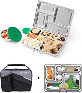 PLANETBOX Adults and Kids Stainless Steel Bento Lunch Box with 5 Compartments, Black Pearl Carry Bag with Sports Balls Mag...
