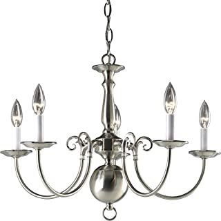 Progress Lighting P4346-09 5-Light Americana Chandelier with Delicate Arms and Decorative Center Column, Brushed Nickel