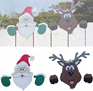 Hengyuan 2 pcs Christmas Themed Fence and Garden Peeker, Nosy Santa Claus Fence Decoration, Cute Santa Claus and Reindeer ...