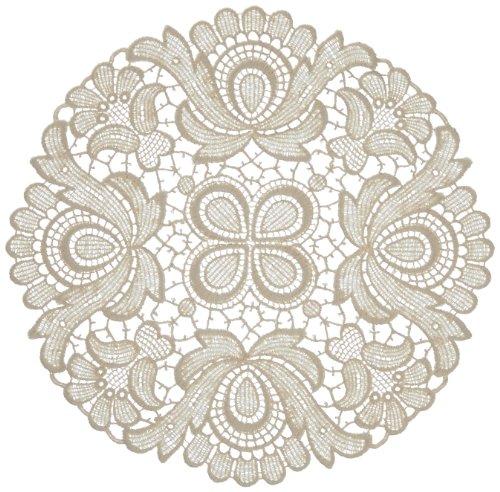 Plauener Spitze by Modespitze 67952 Centrino in Pizzo, Design Plauen, Colore Panna, Cotone, Beige, 22 cm rund