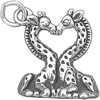 925 Sterling Silver Giraffe Heart Charm Kissing Giraffes Pendant Jewelry Making Supply, Pendant, Charms, Bracelet, DIY Crafting by Wholesale Charms