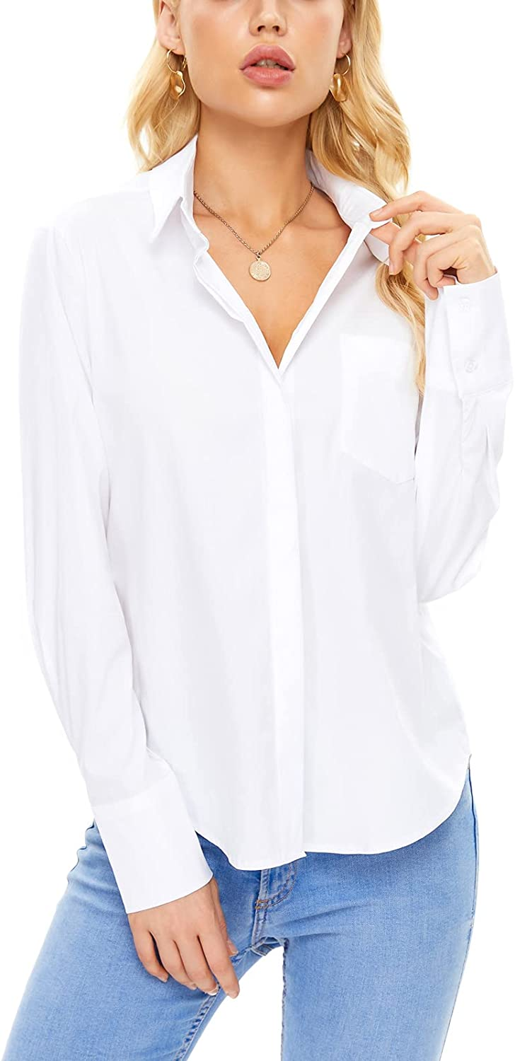 Women's Solid Color Cotton Stretch Classic Long Sleeve Button Down Slim Fit Business Work Shirts