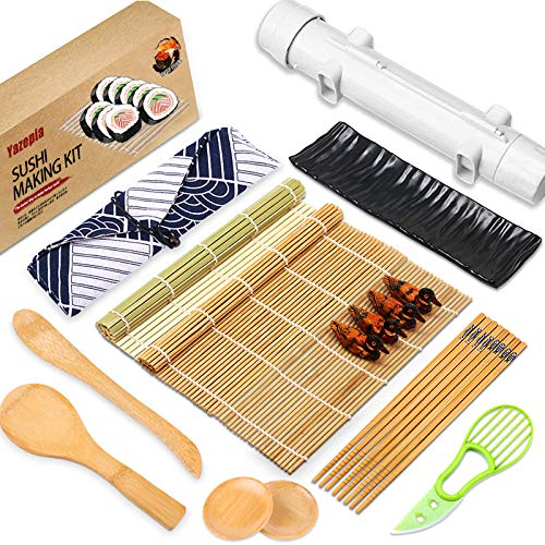 Yazepia Sushi Making Kit Sushi Maker Bazooka with Bamboo Rolling Mat, Chopsticks, Paddle, Spreader, Dipping Plate All In One Sushi Making Kit for Beginners Chef, DIY Sushi Roller Machine (White)