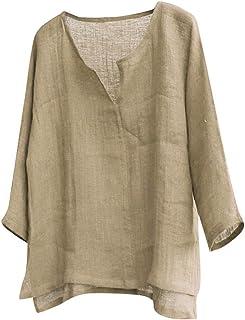ITISME Camicia Casual Uomo Manica Lunga Coreana Tinta Unita Scollo a V Cotone e Lino Sciolto Comodo Camicia Uomo Manica Lu...