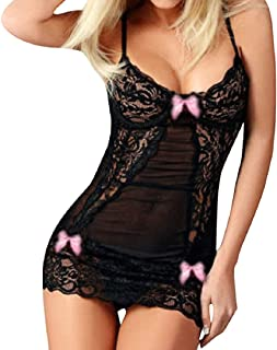Longra Donna Corsetto Vestito Babydoll Biancheria Lingerie Esotico Pizzo Pigiama Body Interi e Tute Intere Transparent Camicia da Notte Pigiameria