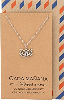 Quan Jewelry Om Lotus Necklace in Spanish, Gifts for Latin/Latina Friends, Lotus Flower Symbol, Spanish Yoga Necklace, Healing New Beginnings Pendant Charm with Spanish Quote, Authentic & Handmade