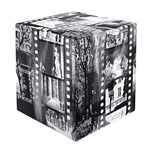Kaikoon Pouf Cube Imprimé Paris Noir/Blanc 35 cm x 35 cm x 42 cm