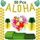 141 Pieces Hawaiian Aloha Party Decorations,Large Glitter Aloha Banner,Tissue Paper Pineapples, Tropical Palm Leaves, Artificial Hibiscus Luau Flowers, Gold Glittery Aloha Banner Luau Party Supplies