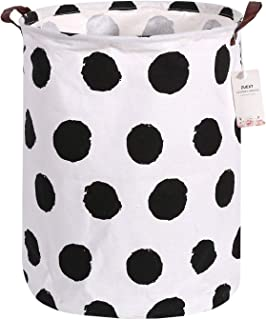 Laundry Storage Bins Extra Large 19.7 x 15.7 Inch, ZUEXT Collapsible Laundry Storage Basket Hamper, Round Cotton Canvas Fabric Gift Basket w/Handles for Toys, Laundry, Baby Nursery (Black Circle)