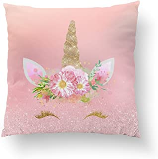 Orlando-XV Unicorn Smiling Lashes Pink Rose Gold Glam Flowers Pillowcase Pillow Cushion Cover Cases Single Side 16x16