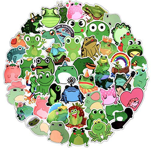 EBANKU 100 PCS Frog Stickers,Waterproof Vinyl Stickers for Water Bottles,Laptop,Skateboard,Luggage,Suitcase,Cars,Graffiti Decal Sticker for Kids Teens Girls
