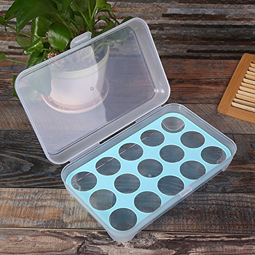 Junchuang - Dispensador de huevos de plástico, organizador de almacenamiento de frigorífico para cocina, protege y mantiene el huevo fresco (10/15/18/24 soporte para huevos de entrada), azul, 15 grid