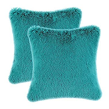 CaliTime Pack of 2 Super Soft Throw Pillow Covers Cases for Couch Sofa Bed, Solid Plush Faux Fur 18 X 18 Inches, Teal