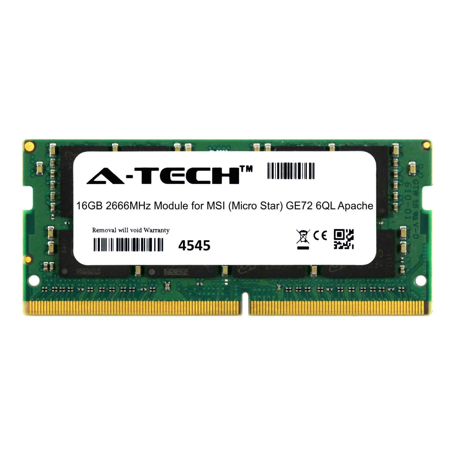 A-Tech 16GB Module for MSI (Micro Star) GE72 6QL Apache Laptop & Notebook Compatible DDR4 2666Mhz Memory Ram (ATMS368238A25832X1)
