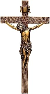 Roman Jesus Christ Nailed to Crucifix Bronze 13 Inch Resin Stone Wall Cross Crucifix