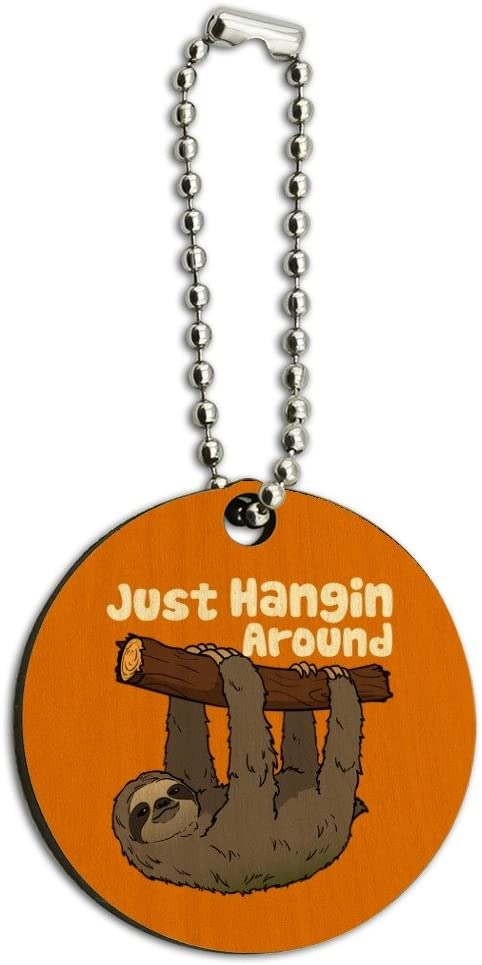Sloth Just Hanging Around Wood Wooden Round Keychain Key Chain Ring