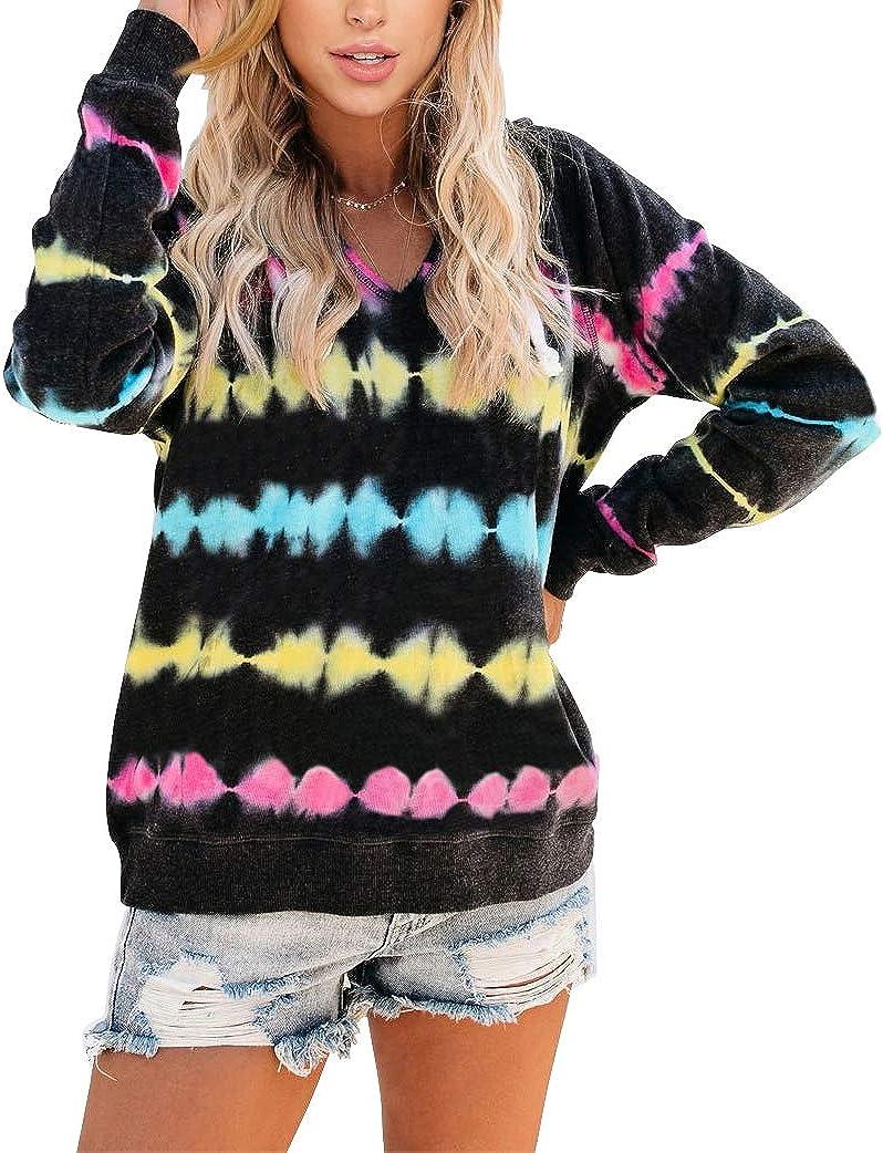 Angerella Women's Tie Dye Hooded Sweatshirt Color Block Rainbow Striped Drawstring Hoodie Long Sleeve Pullover Tops