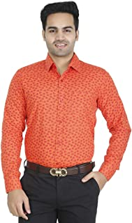 EL FIGO Men's Casual Full Sleeve Orange Color Cotton Printed Slim FIT Shirt