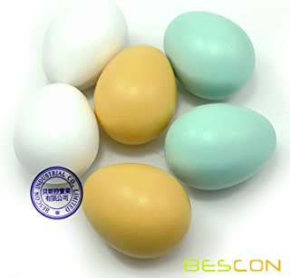 Bescon Wooden Fake Eggs - 6 Pieces DIY Easter Eggs - Children Play Kitchen Game Food Toy Faux Egg 3 Colors