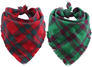KZHAREEN 2 Pack Dog Bandana Christmas Plaid Reversible Triangle Bibs Scarf Accessories for Dogs Cats Pets Animals