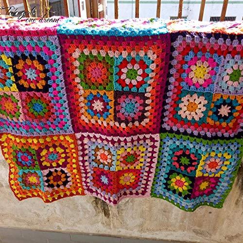 Lili Multifuncional Crochet Manta de Oficina portátil Cojín Hecho a Mano Alfombra Enganchada a Mano Moda Crochet Felt Pastoral Style Tablemat, 100X100CM