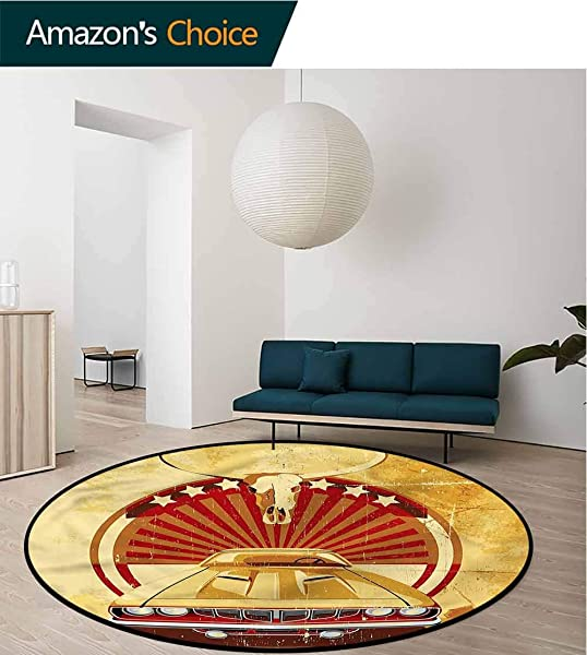 RUGSMAT Cars Modern Washable Round Bath Mat Grunge Sports Car Bull Skull Round Shape Area Rugs Rug Large Round Rugs Diameter 35