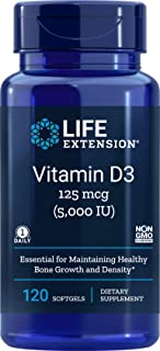 Life Extension Vitamin D3 5000 IU, 120 Softgels, 125mcg