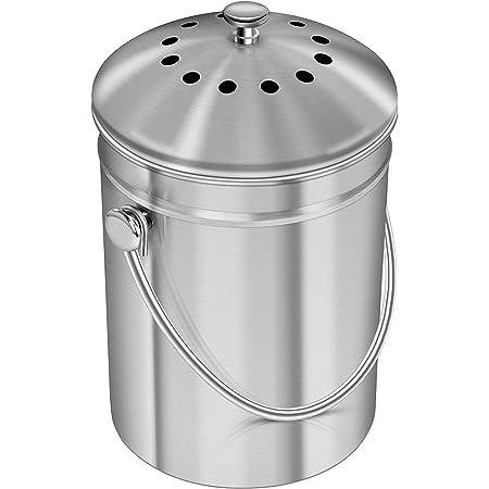 KICHLY [5 Liter Seau à Compost en Acier Inoxydable pour comptoir de Cuisine - Seau à Compost Seau de Cuisine Compost avec Couvercle - Comprend 1 Filtre à Charbon de Rechange