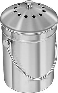 KICHLY [5 Liter Seau à Compost en Acier Inoxydable pour comptoir de Cuisine - Seau à Compost Seau de Cuisine Compost avec ...