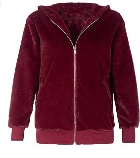 iHHAPY Women's Faux Fur Coat Plush Jacket Short Zipper Coat Plush Winter Parka Hooded Winter Jacket Casual Warm Fluffy