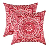 TreeWool Dekorativer Kissenbezug (50 x 50 cm, Rot) Mandala Design 100% Baumwolle (2er Pack)