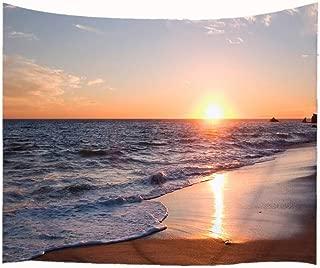 Goodbath Ocean Beach Tapestry Wall Hanging, Coast at Sunrise Time Fabric Wall Hangings, 80